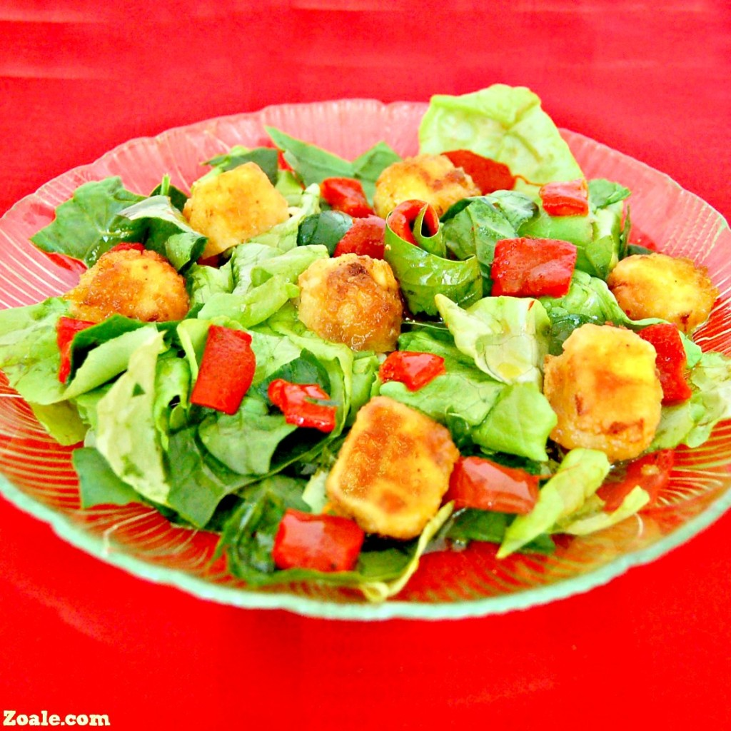 Fried Feta and Roasted Red Pepper Salad